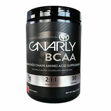 Gnarly BCAA Workout Supplement ,, All Natural Muscle Recovery (Fruit Punch)