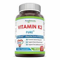 Pure Naturals Vitamin K2 Supplement - 100mcg, 120 Vegetarian Capsules Per bottle- Menaq7 MK7 Vitamin- Helps Utilize Calcium For Healthy Bones & Muscle Function