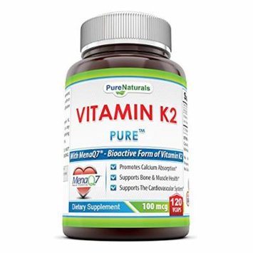Pure Naturals Vitamin K2 Supplement - 100mcg, 120 Vegetarian Capsules Per bottle- Menaq7 MK7 Vitamin- Helps Utilize Calcium For Healthy Bones & Muscle Function