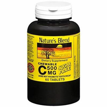 Nature's Blend Vitamin C 500mg Sugar Free Chewable Tablets 60 Ct Pack of 3
