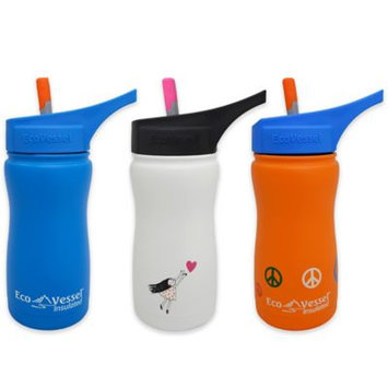 Eco Vessel Frost Triple Insulated Stainless Steel Bottle with Straw Top (White/Hearts) - 13 oz.