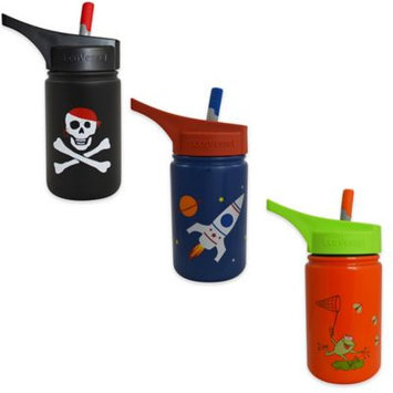 Eco Vessel Bottles & Baby Dishware 13 oz. Scout Kids Bottle with Straw Top - Black with Pirate SCT400BP