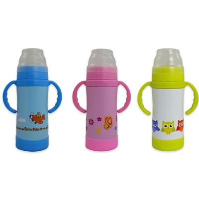 Eco Vessel The Insulated Sippy TriMax Triple Insulated Sippy Bottle with Nuk Spout Pink wi