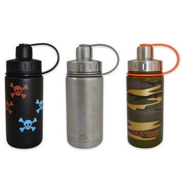 Eco Vessel Sports Bottles 13 oz. Twist Triple Insulated Bottle with Screw Cap - Black with Skulls (Powder Coat) TWS400BS