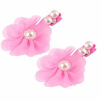 Girls Ultra Pink Floral Detail Faux Pearl Accent Alligator Hair Clip 2pcs