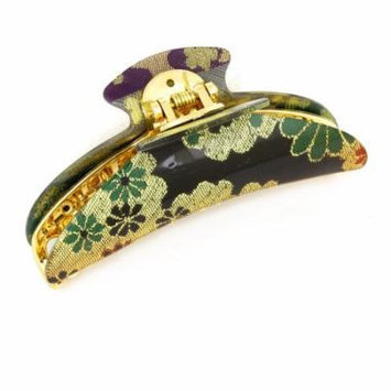 Women Gold Tone Black Green Flower Printed Crescent Plastic Hair Claws Clip