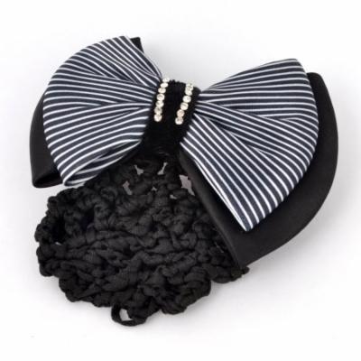 Black White Stripe Polyester Bowknot Detail Barrette French Hair Clip w Nylon Snood Net