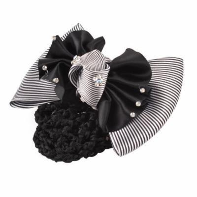 Rhinestones Inlaid Ruched Bowknot Snood Net Barrette Hair Clip White Black