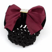 Elastic Band Burgundy Bow Detail Snood Net Hair Clip Hairnet Hairclip