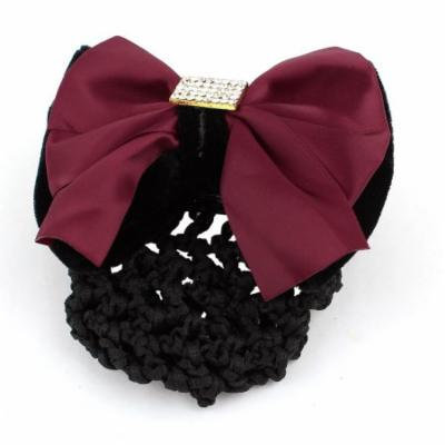 Elastic Band Burgundy Bow Detail Snood Net Hair Clip Hairnet Hairclip