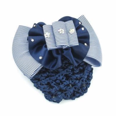 Girls White Blue Rhinestones Floral Bowknot Barrette stewardess Hair Clip