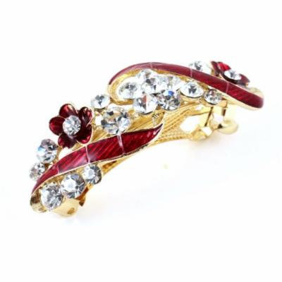 Woman Girl Flower Plastic Rhinestone Inlaid Barrette French Hair Clip Red