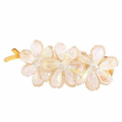 Lady White Crystal Flower Shaped Banana Barrette Hairbow Hairpin Hair Clips