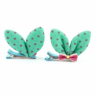Woman Bow Green Rabbit Ear Ornamentation Single Prong Alligator Hair Clips Pair