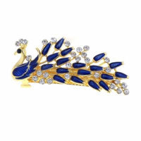 Woman Royal Blue Peacock Shaped Metal Barrette Hairclip French Clip Gold Tone