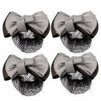 4 Pcs Coffee Color Stripe Print Bowknot Snood Net Barrette Hair Clip for Lady