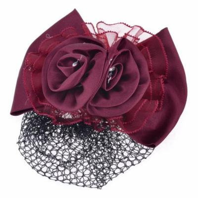 Burgundy Polyester Flower Bowknot Ornament Hairnet Metal Barrette Hair Clip