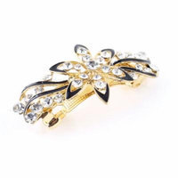 Lady Party Flower Faux Rhinestone Barrette Hairpin French Hair Clip Black