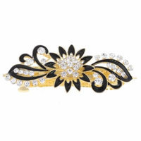 Black Flower Detail Clear Rhinestone Gold Tone Metal French Clip Hair Barrette
