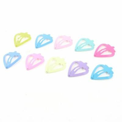 Women Colorful Metal Strawberry Shape Bendy Snap Hair Clips Hairpins 10 Pcs