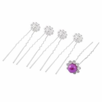 Wedding Bridal Bridesmaid Faux Pearl Rhinestone Decor Hair Pin Clip Fuchsia 5pcs