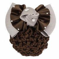 Lady Striped Print Bowknot Barrette Hair Clip Cover Mesh Bun Net Snood