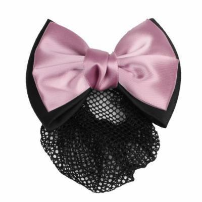 Airline Stewardess Nurse Bowknot Decor Hair Snood French Barrette Black Pink