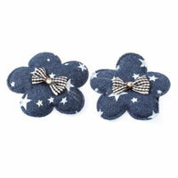 Dark Blue Flower Design Bow Accent Sponge Padded Alligator Hair Clip Pair