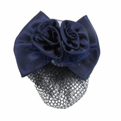 Woman Girl Purple Flower Bowknot Snood Net Bun Cover Barrette Hair Clip
