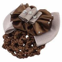 White Coffee Color Striped Bowknot Decor Hair Clip Barrette for Women