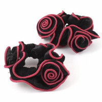 2 Pcs Black Red Flower Shaped Stretchy Hair Bands Ponytail Holder Hair Ties
