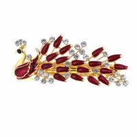 Woman Dark Red Peacock Shaped Metal Barrette Hairclip French Clip Gold Tone