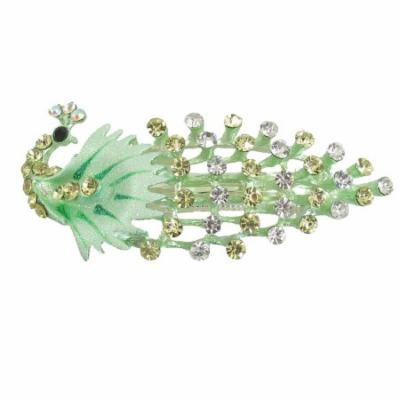 Ladies Glittery Rhinestone Accent Peacock French Clip Hair Barrette Light Green