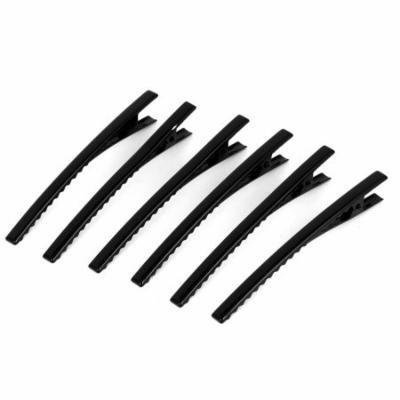 Metal Single Prong Alligator Hair Clip Teeth Barrette Black 6pcs