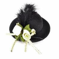 Flowers Ornament Black Top Homburg Alligator Hair Clip for Women
