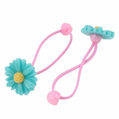 Girls Sunflower Decor Stretchy Hair Ties Rubber Bands Ponytail Holder Cyan Pair