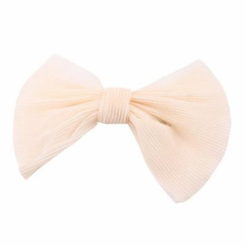 Bow Decor Spring French Clip Hair Barrette Ornament Beige for Woman