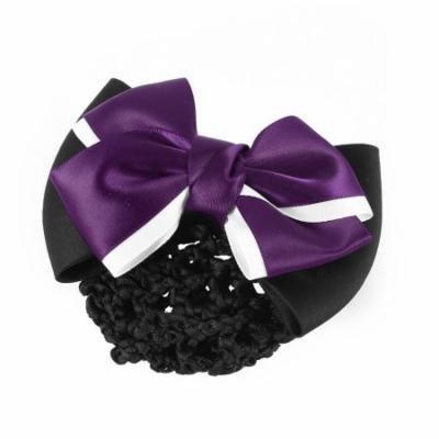 Dark Purple Black Two Layer Bow Snood Net Barrette Hair Clip for Ladies