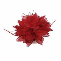Lady Glitter Powder Decor Strctchy Rubber Red Hair Tie Ponytail Holder Brooch
