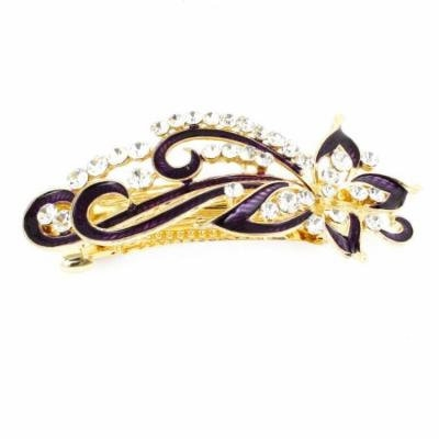 Dark Purple Rhinestones Accent Swirl Floral Barrette French Hair Clip