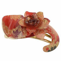 Red Flower Decor S Shaped Gold Tone Alligator Hair Clip Hairclip for Lady