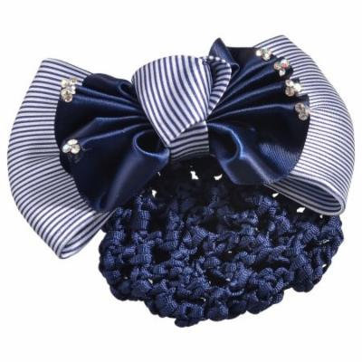 Ladies Navy Blue White Striped Bowtie Decor Barrette Hair Clip Snood Net