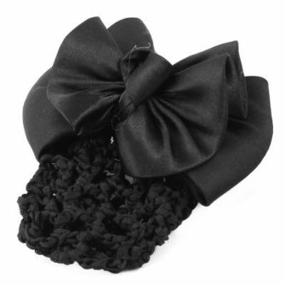 Black Bowtie Detialing Hairnet Snood Net Hair Clip for Woman