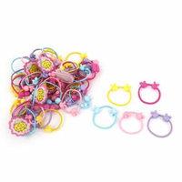 50Pcs Multi Color Rabbit Head Shape Elastic Ponytail Holder Hair Ties Bands for Girl