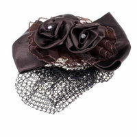 Dark Brown Bow Tie Shape Hair Clip Snood Net Barrette Bun Cover for Ladies
