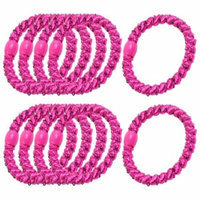 10 x Fuchsia Elastic Bands Hair Tie Bands Ponytail Holders for Lady