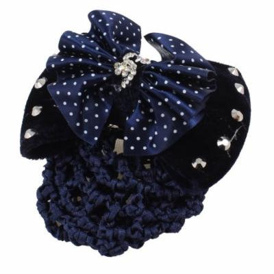 Rhinestone Butterfly Knot Detailing Snood Net Hair Clip Blue Black for Lady
