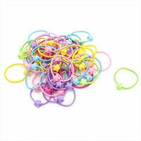 Girl Multi Color Stretchy Ponytail Holder Hair Ties Bands 50 Pcs