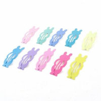 10Pcs DIY Hairdo Multicolor Metallic Rabbit Design Bow Prong Hair Clips for Lady