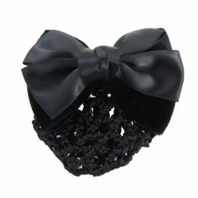 Black 2 Layers Bowtie Decor Barrette Hair Clip Snood Net for Woman